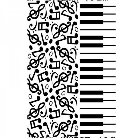 EMBOSSiNG FoLDER PIANO KEYS with MUSIC NOTEs MUSICaL