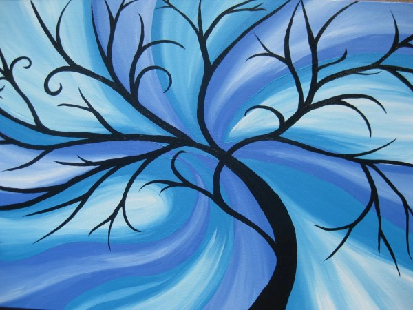 blue tree of life painting on canvas large huge enormous beach