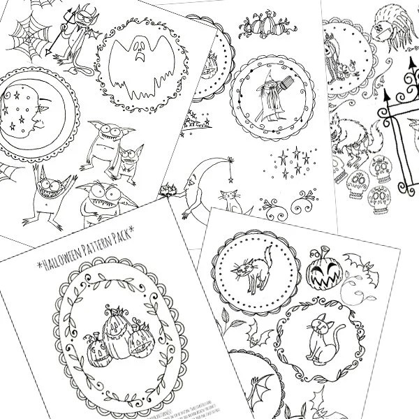 Items similar to Halloween Embroidery Patterns Printable