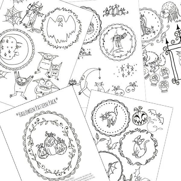 Halloween Embroidery Patterns Printable Set of Digital