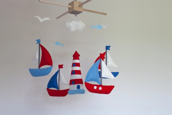 Baby Mobile Sailboat Crib Felt Sea
