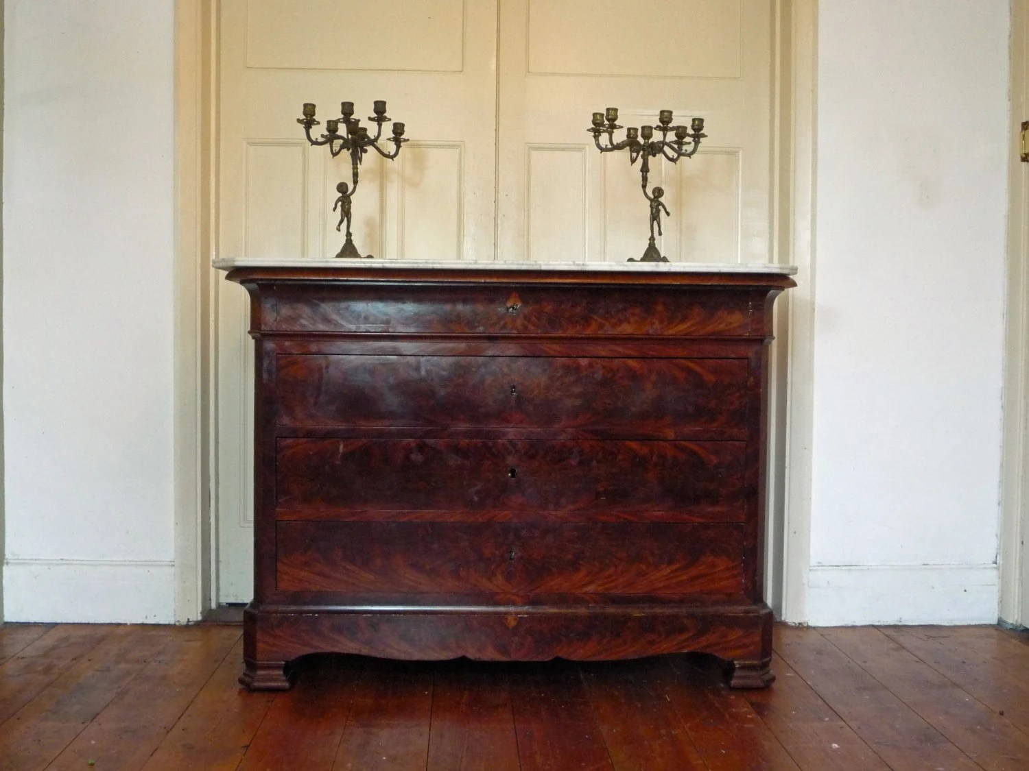 Authentic Antique Louis Philippe French Marble Top Commode Chest of Drawers - DazzleVintage