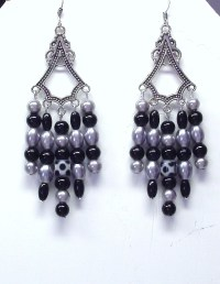 Handmade Beaded Chandelier Earrings in Black and Silver
