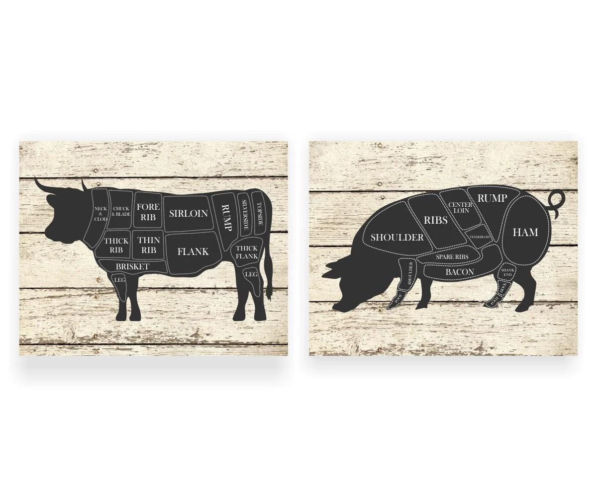 diagram of farm animals mercruiser mechanical fuel pump kitchen art print cow and pig hog butcher set two