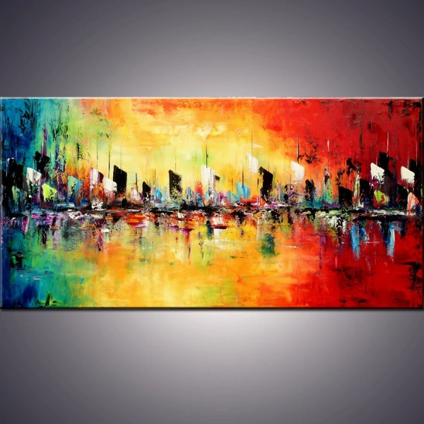 Large Abstract Cityscape Painting Art Modernarthomedecor