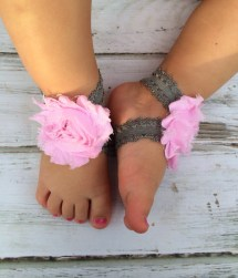 Light Pink And Gray Picot Lace Baby Barefoot Sandals Newborn