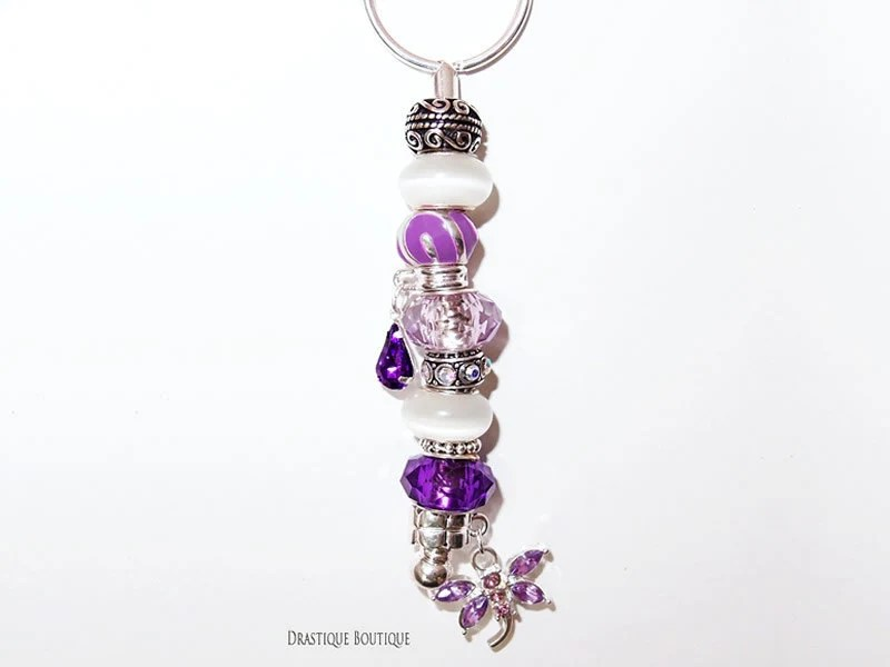 Cat's eye white purple dragonfly charm KEYCHAIN, European beads charms keychain, LIMITED edition, OOAK, Christmas Gift keychain - DrastiqueBoutique