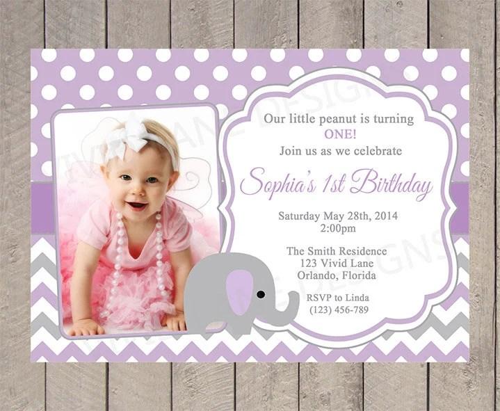 Ragazza primo compleanno invito elefante ragazza compleanno