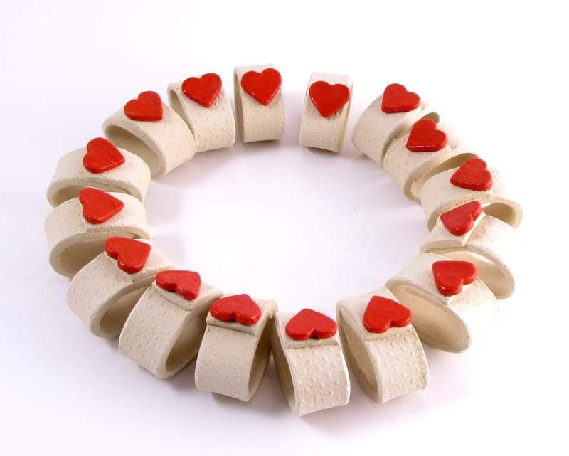 Valentines Day Ceramic Napkin Rings With By