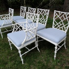Bamboo Dining Chair Double Reclining Vintage Aluminum Faux Chairs Set Of Six Read