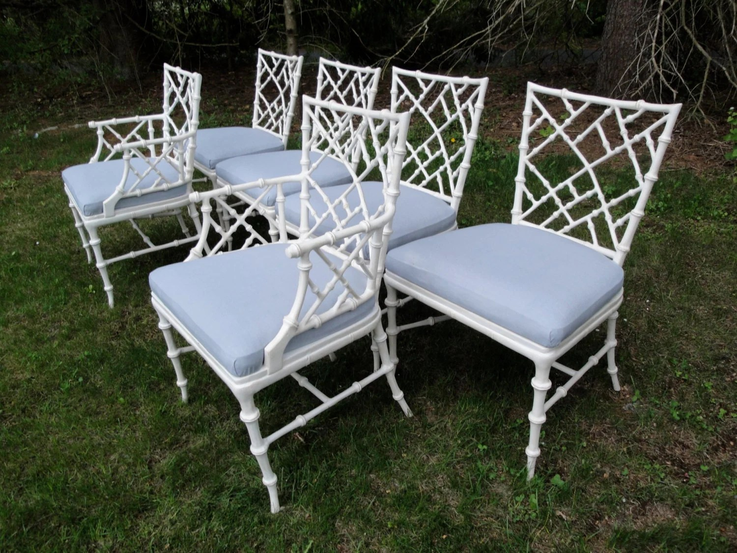 Bamboo Dining Chair Vintage Aluminum Faux Bamboo Dining Chairs Set Of Six Read