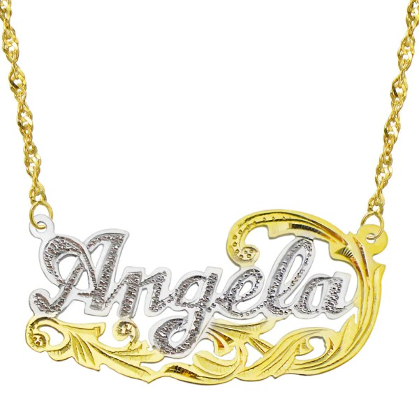 14k Two Tone Gold Personalized Plate Necklace Style 8