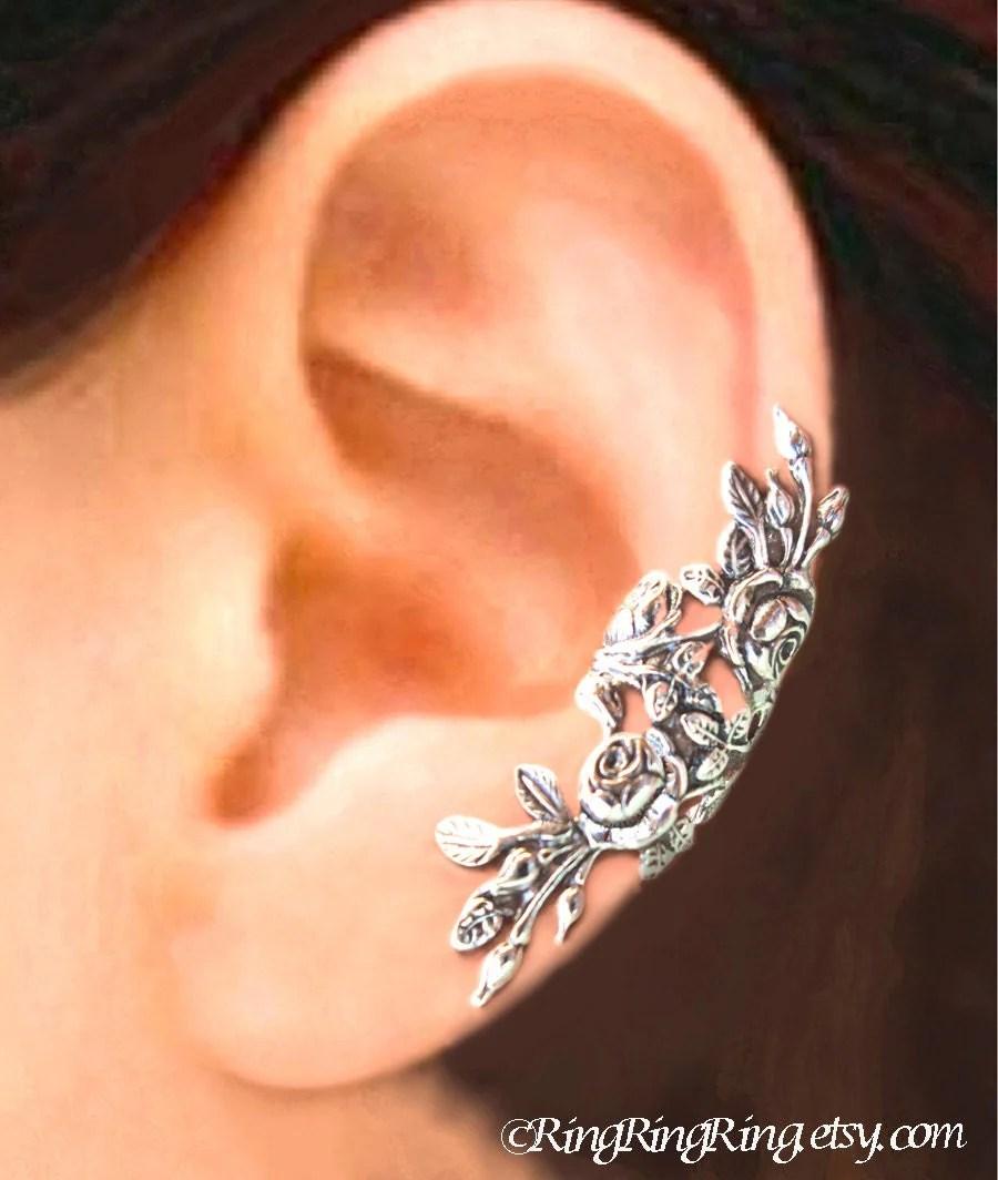 Long Garden Rose Ear Cuff Sterling Silver Earrings Rose