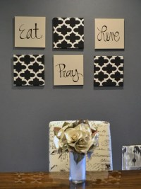 Eat Pray Love Wall Art Pack of 6 Canvas Wall Hangings Hand