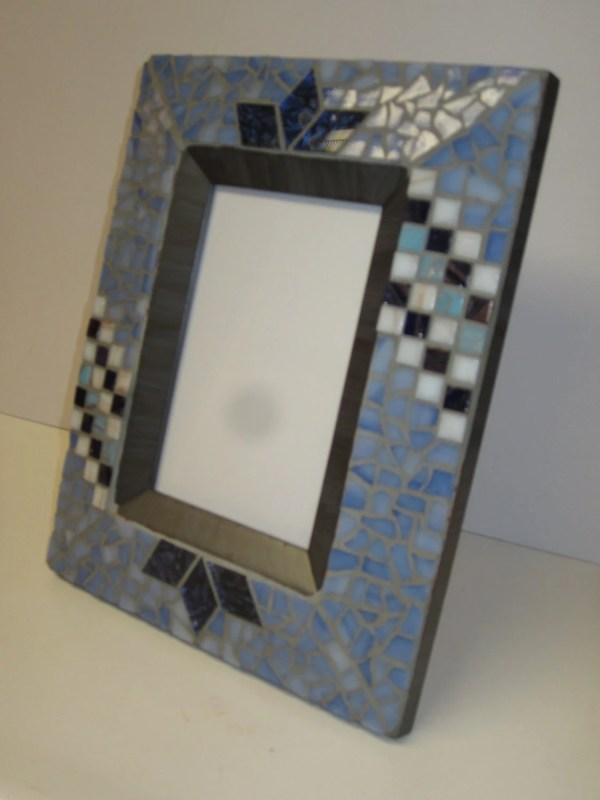 Smoky Blue Mosaic Photo Frame
