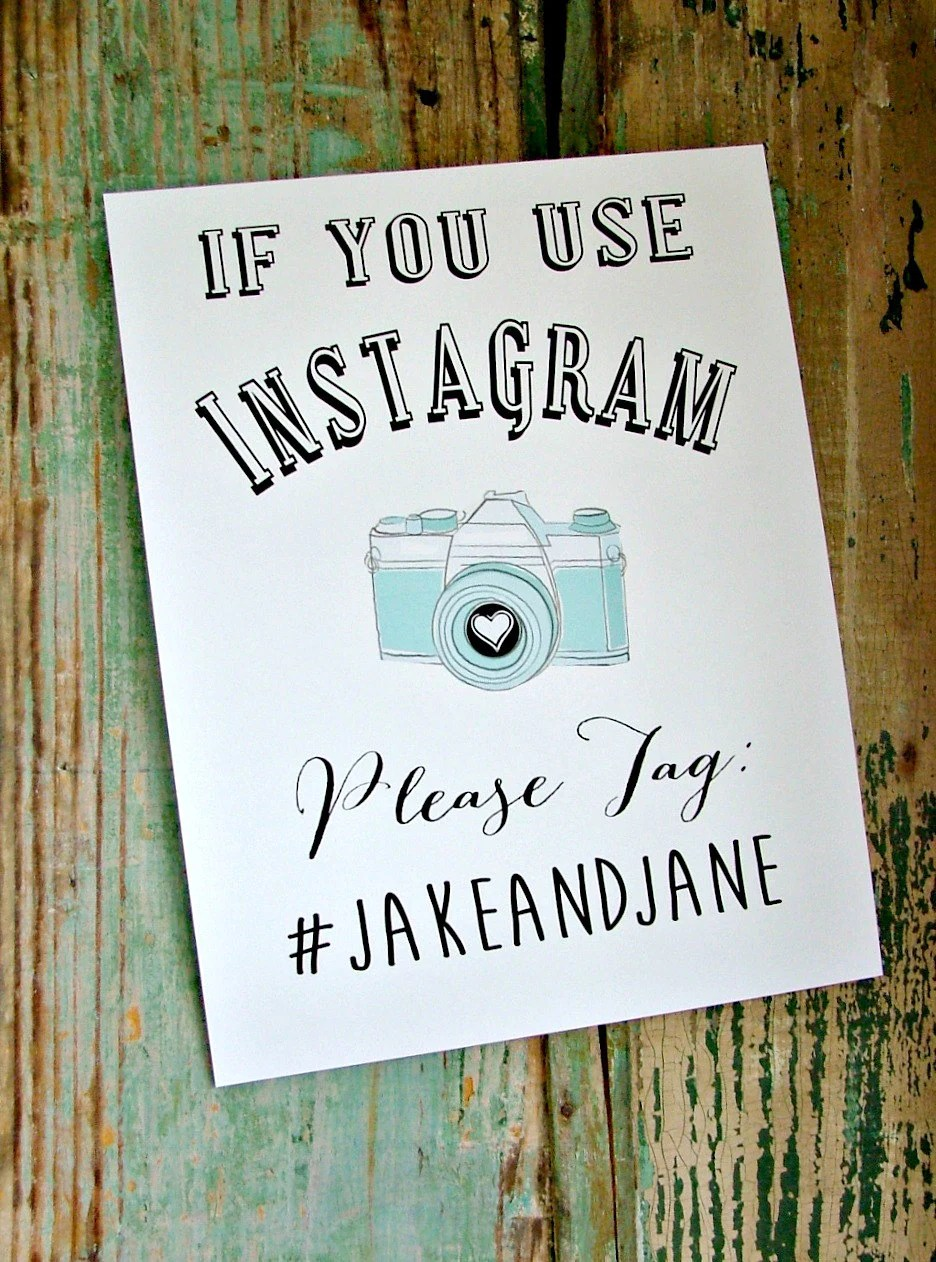 Instagram sign printable wedding personalized wedding sign diy wedding print your own for Wedding signs printable