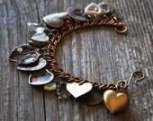 Heart Attack Valentine Charm Bracelet - Vintage Assemblage