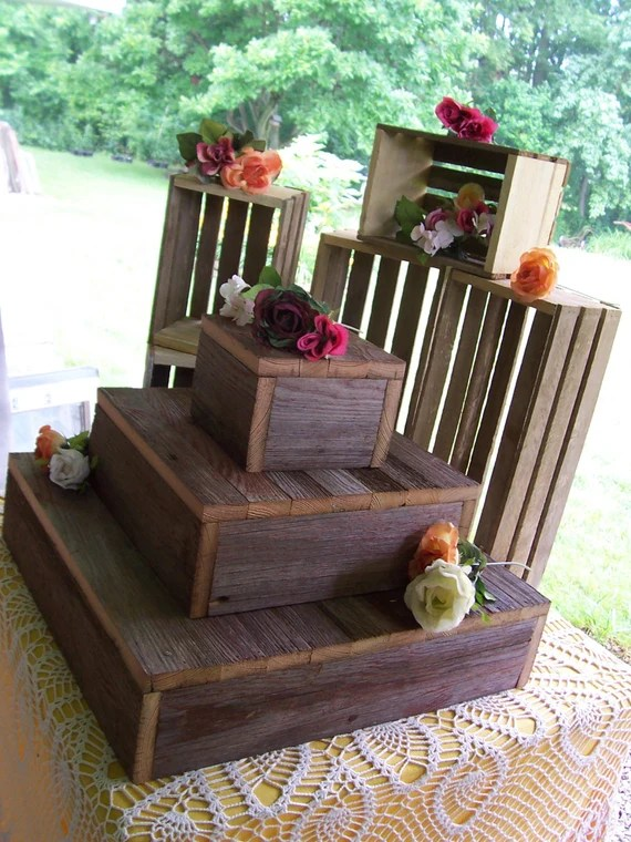 reception 3 Tier Cake Box Stand Barn wood country outdoor reception ...