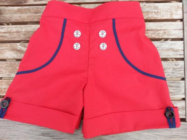 Tween Girls Red With Navy Trim Sailor Shorts