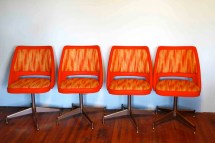 Mid Century Modern Atomic Orange Chairs. Reserve