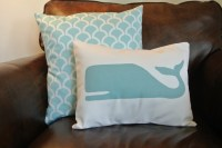 12x16 Whale Pillow Cover / Nautical Pillow / Turquoise