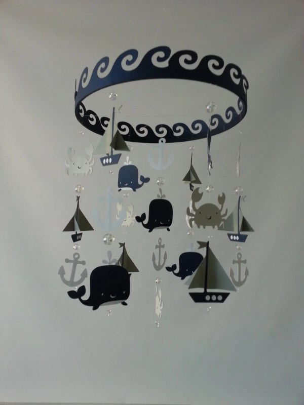 Baby Mobile Sailboat Ocean Creature Sea Navy Gray