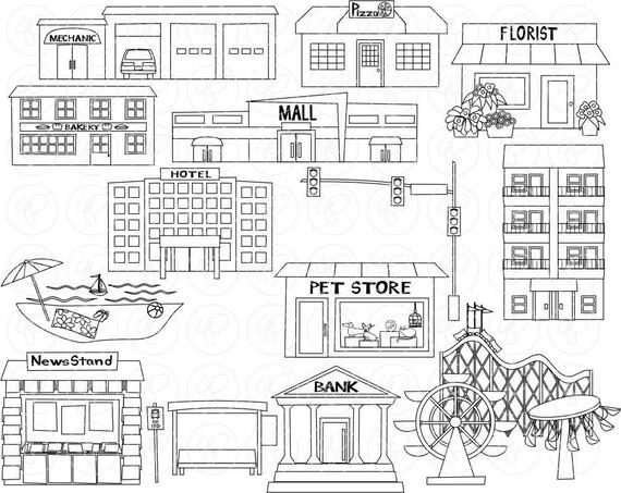 My Community Buildings (Set 02) Clipart: (300 dpi