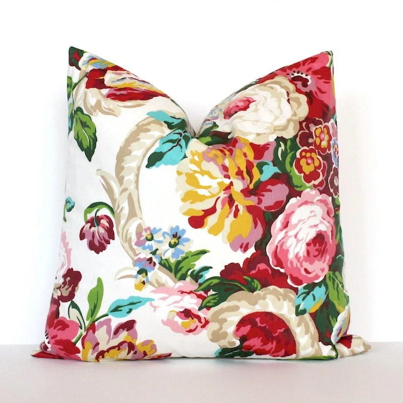 Pink Green Teal Floral Designer Pillow Cover accent cushion