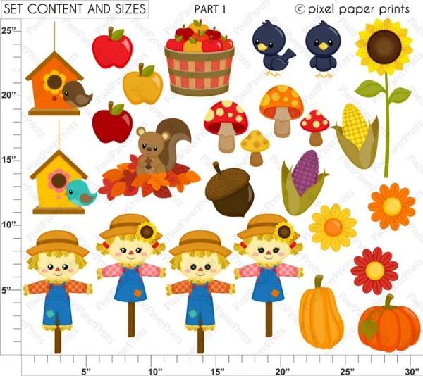 cute autumn elements - fall clipart
