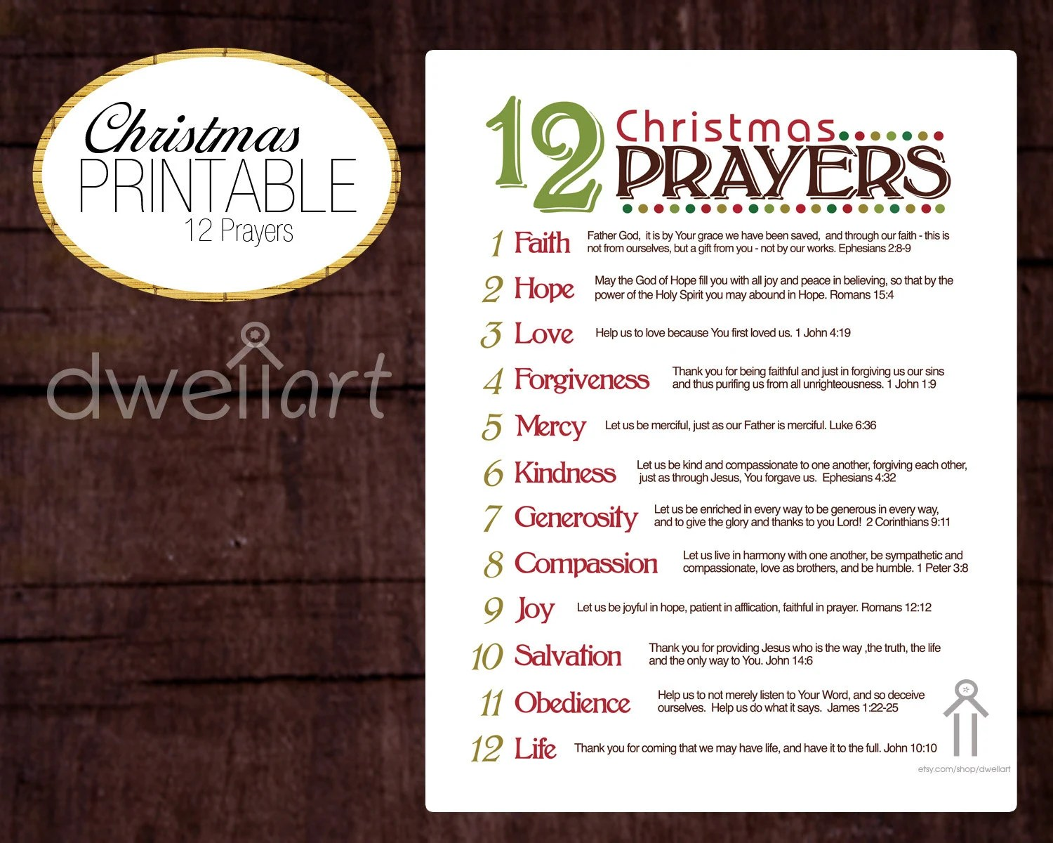 12 Christmas Prayers Printable 8X10 Christian Wall By