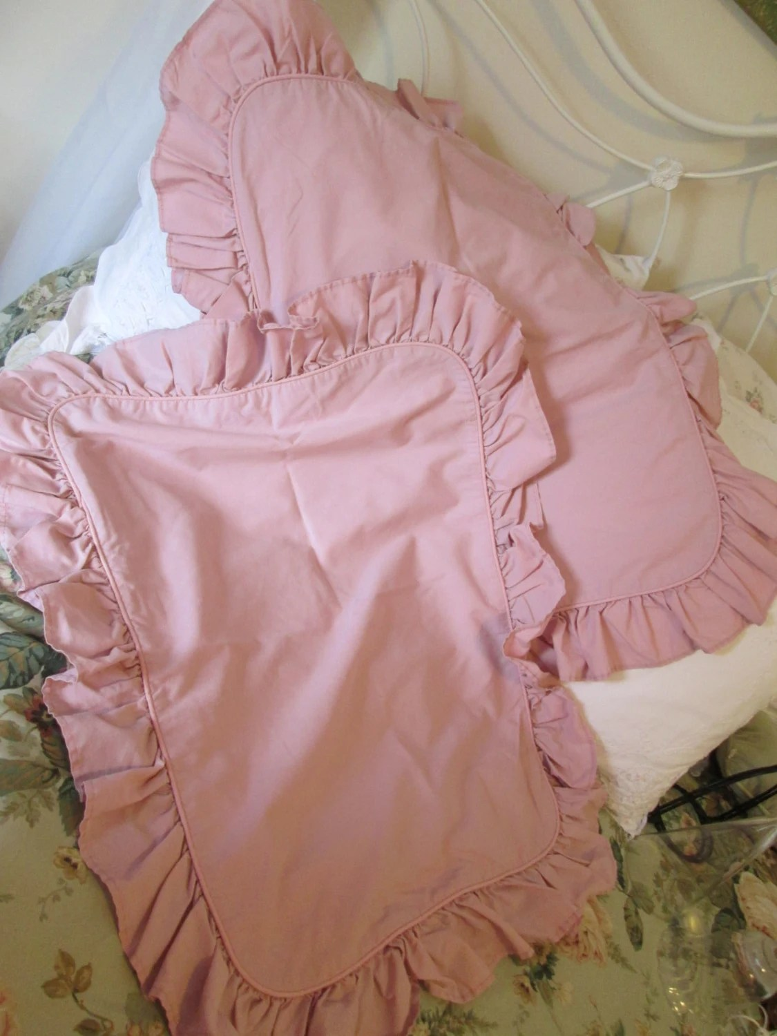 Pink ruffled pillow shams vintage dusty mauve cotton polyester