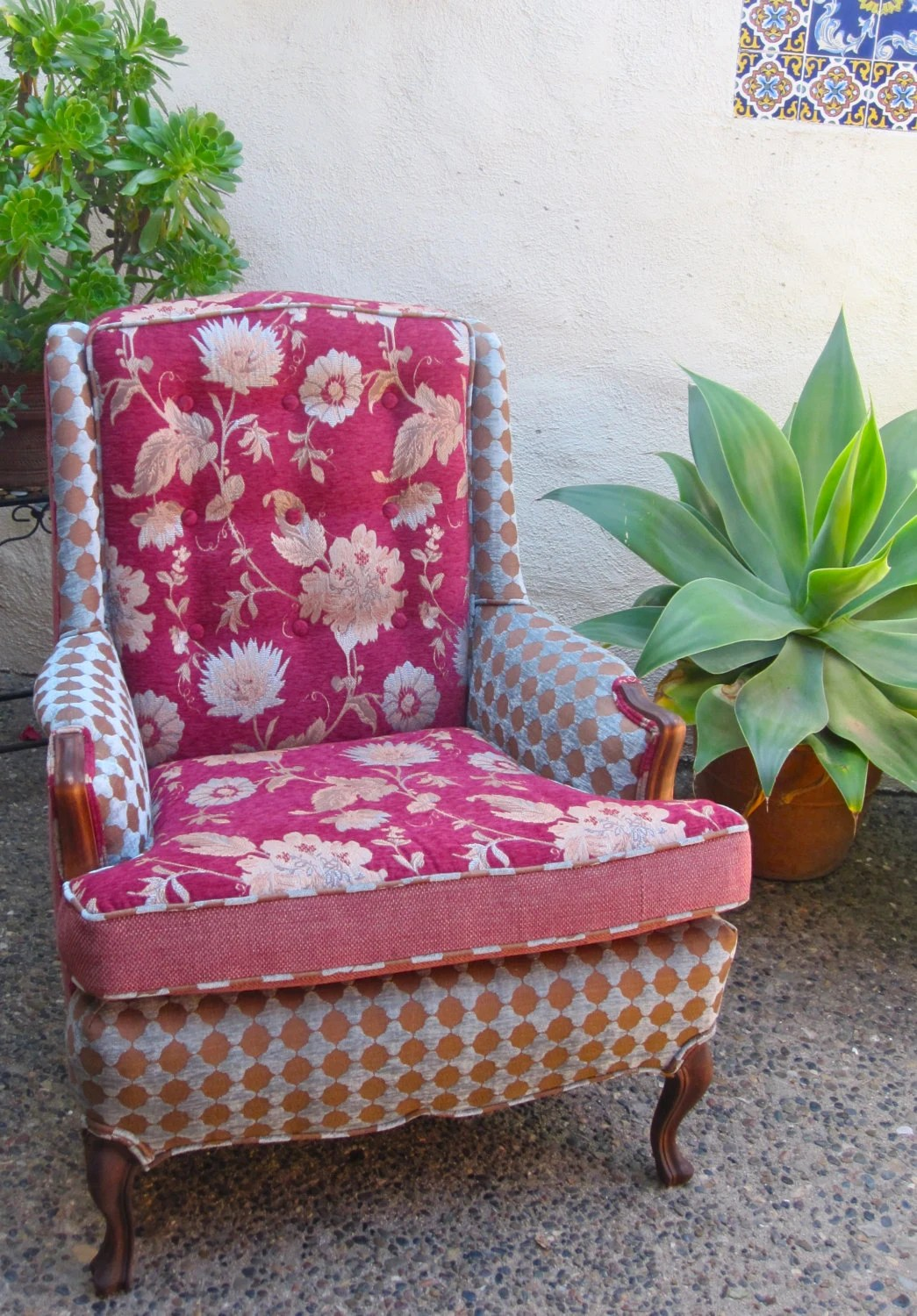 Pink Patterned Wingback Chair SOLD