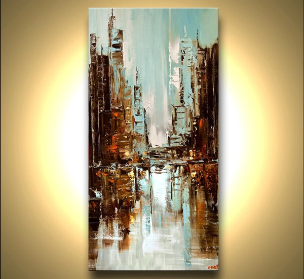 Original City Painting Modern Acrylic Palette Knife Abstract