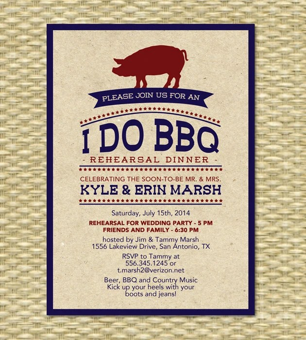 I Do BBQ Rehearsal Dinner Engagement Party Rustic Kraft