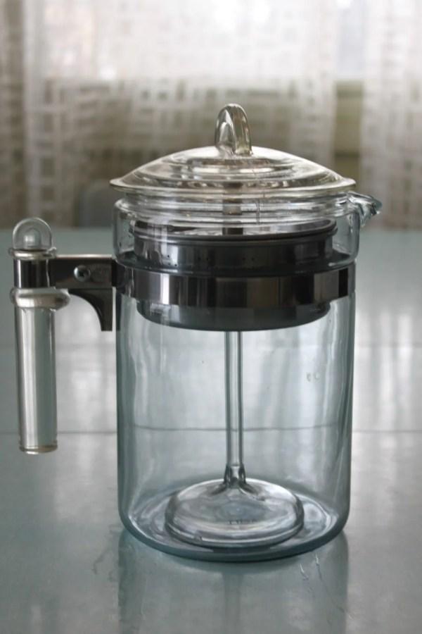 6-9 Cup Vintage Pyrex Glass Flameware Coffee Pot Percolator