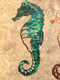 Custom Metal Seahorse Wall Art Green