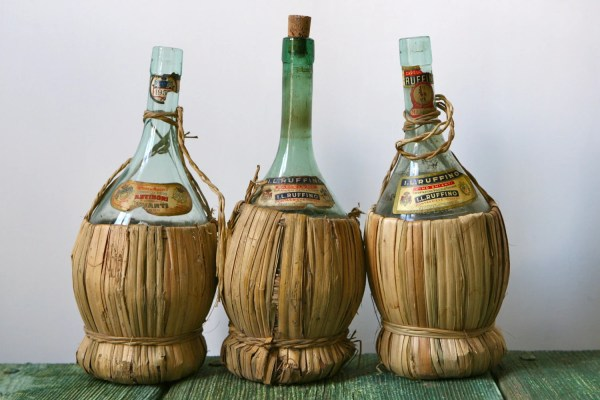 Vintage Chianti Wine Bottles