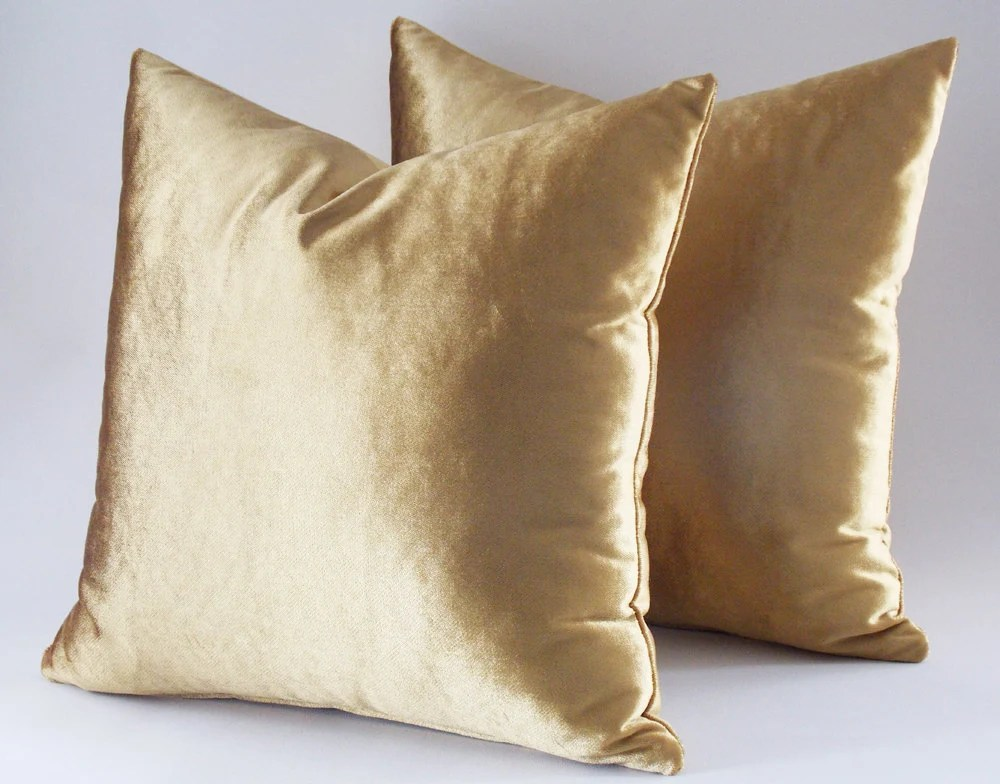 Set Of 2  22x22 Velvet Solid Gold Pillow Covers Decorative