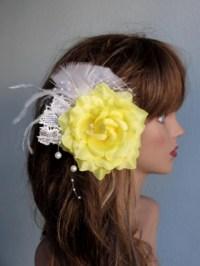 yellow hair accessories wedding yellow bridal flower hair ...