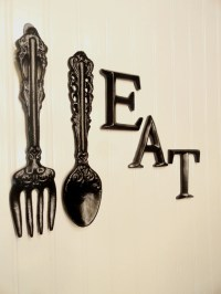 Black Kitchen Wall Decor Large Fork Spoon Wall Decor Eat