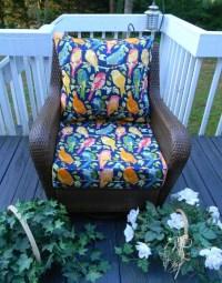 Cheerful Garden Bids on Dark Blue / Navy Fabric Cushion for