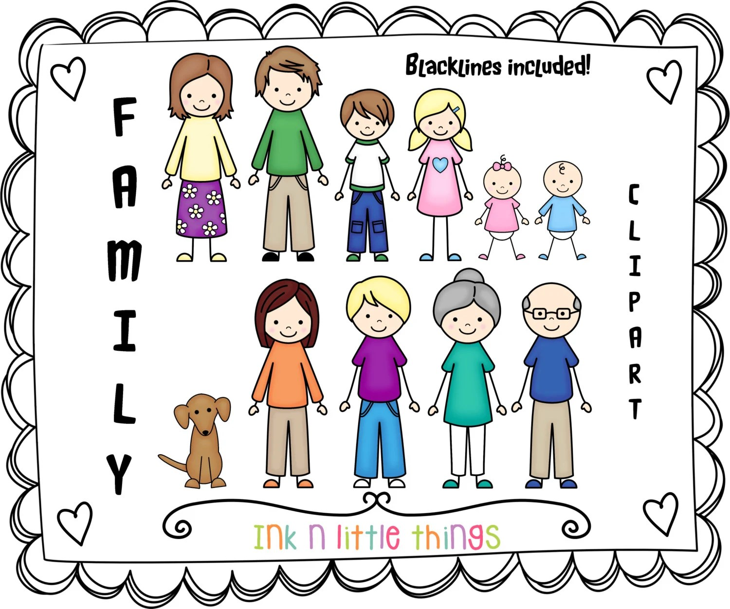 Kids Clipart My Family Clip Art Set 1 Instant Download