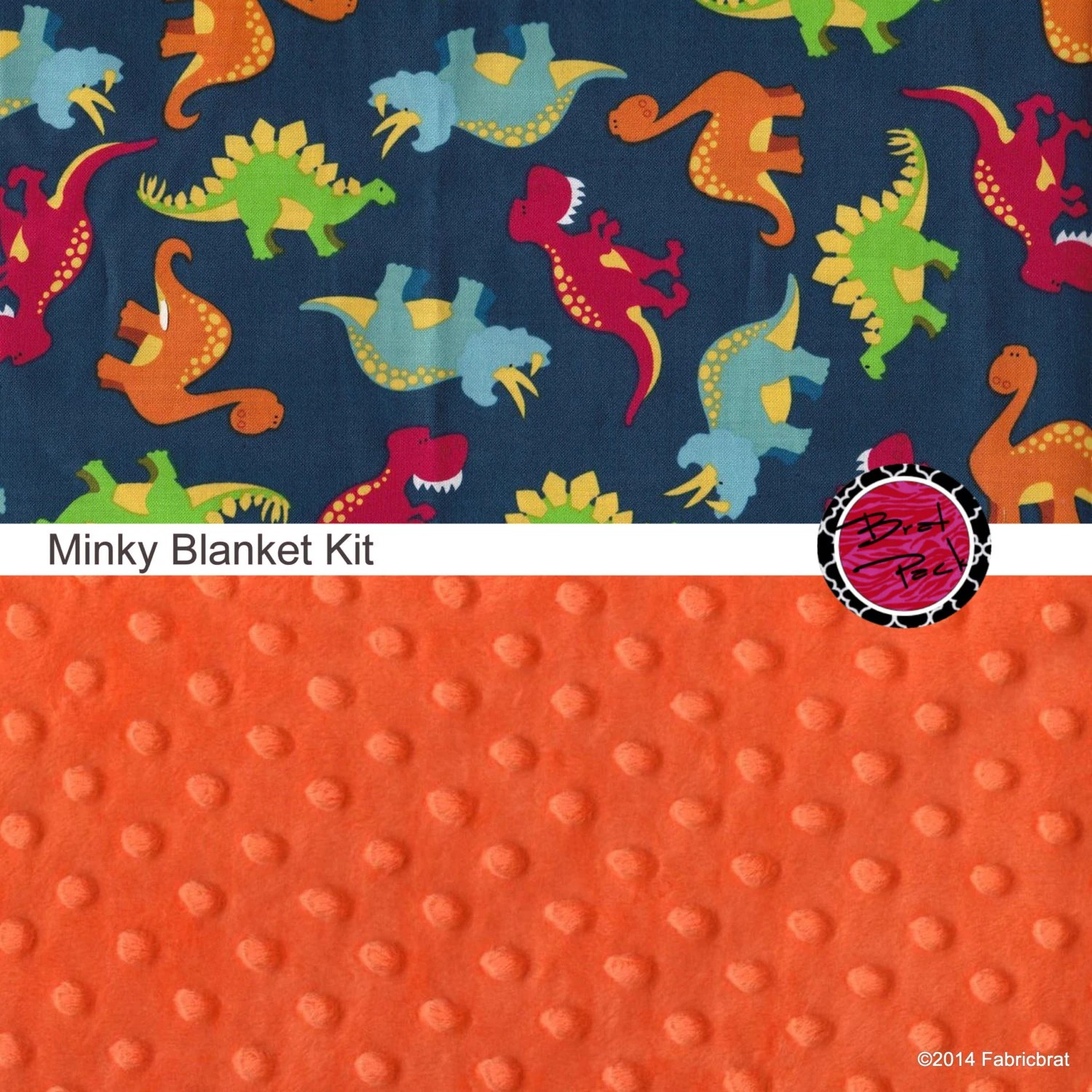 Cotton and Minky Baby Blanket Kit DINOSAUR fabric and