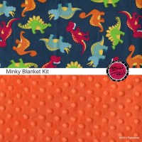 Cotton and Minky Baby Blanket Kit DINOSAUR fabric and ...
