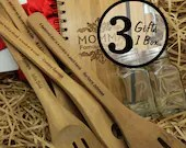 3pc Gift Set Personalized Holiday Christmas with 4pc Bamboo Kitchen Utensils Spoons, Recipe Book, Salt & Pepper Holders - TealsPrairie