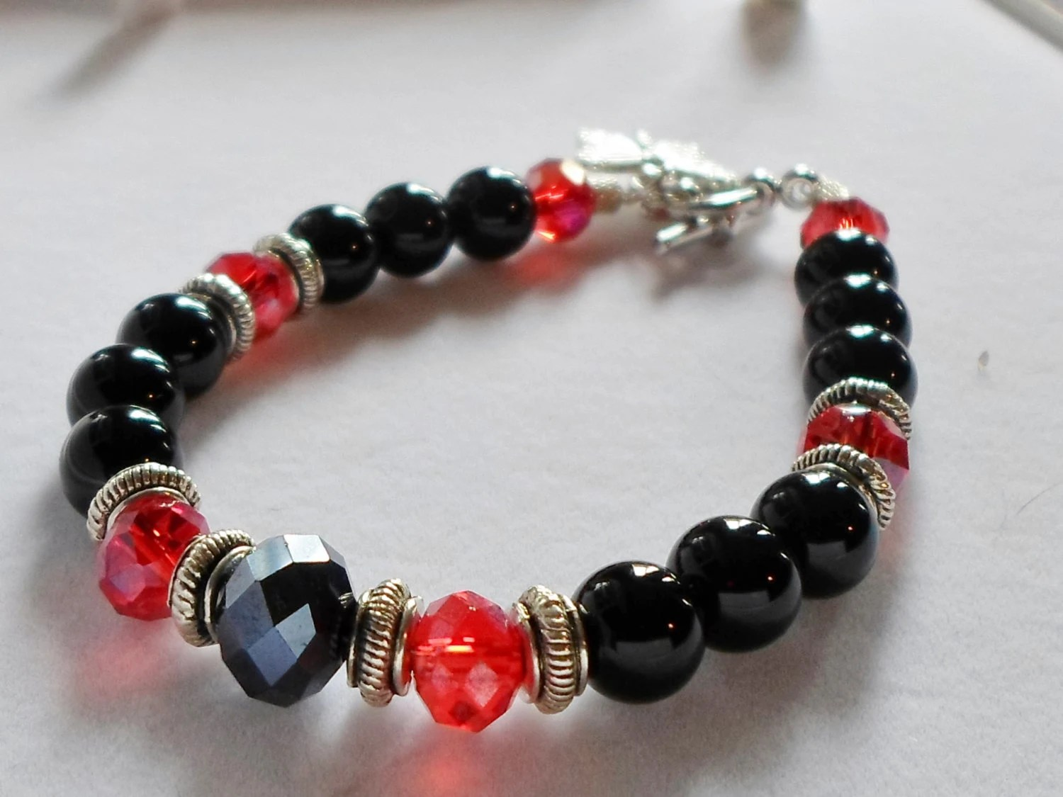Black and Red Bracelet, Texas Tech Fan's Rejoice, Red Black and Silver  Valentine's Day Set, Red Raider's Jewelry - LaneysLastStop