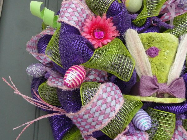 Purple And Green Raz Easter Bunny With Legs Wreath