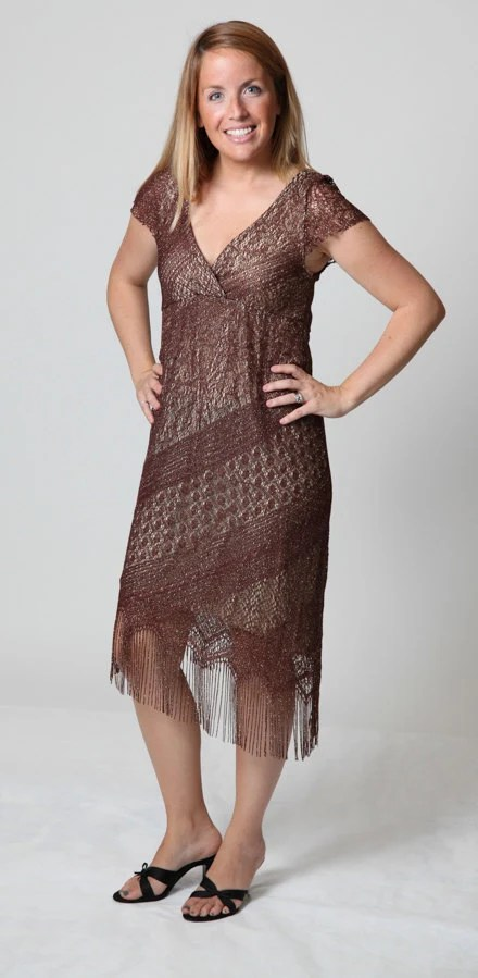 Brown & Gold Lace-like Overlay Empire Waist Formal Dress w/Angled Fringed Hem by Nicole Michelle � Size Medium (Possible Size 7-8) � FG-150 - affordablybridal