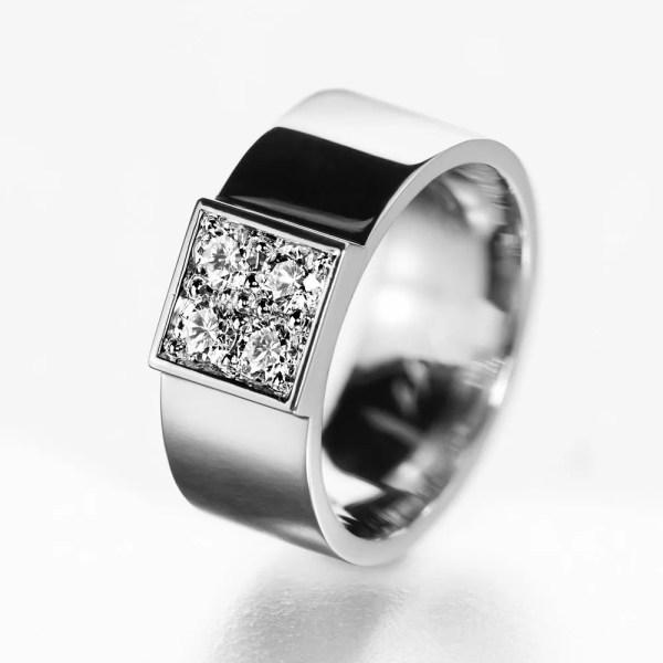 Wide Diamond Engagement Ring Unique Modern
