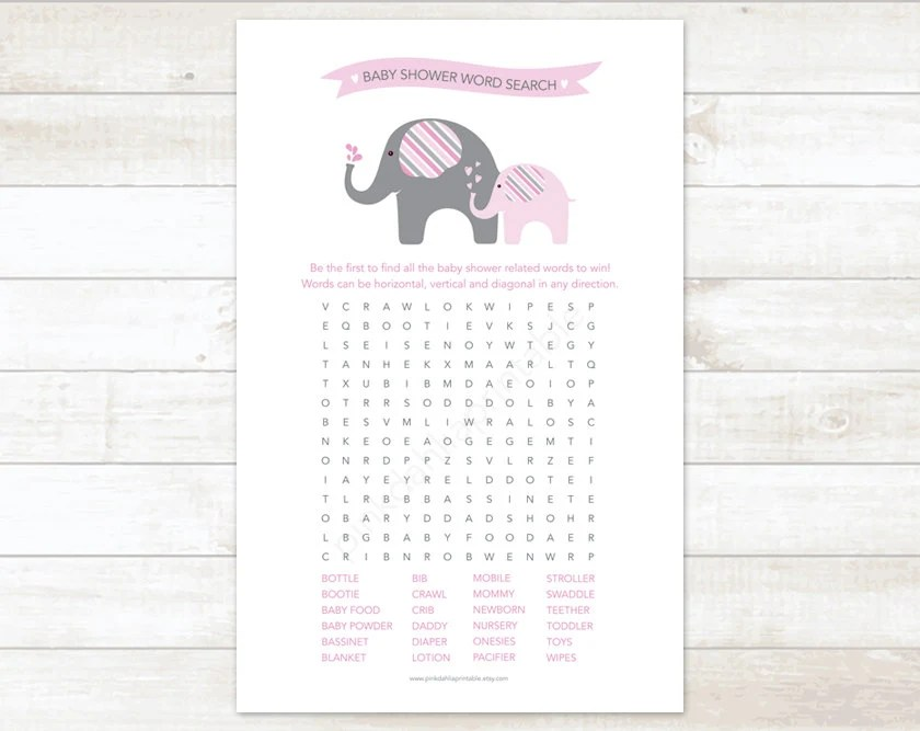 baby shower word search game baby girl shower game pink
